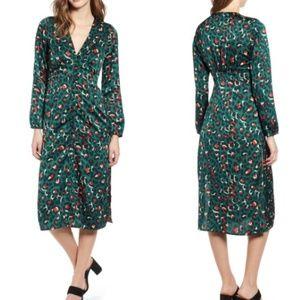 Leith Green Animal Print Midi Dress